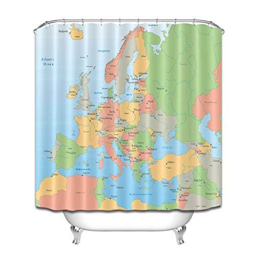 JHTRSJYTJ Europäische Kartenländer und Hauptstädte Wasserdichter,schnell trocknender Duschvorhang,12 Haken,180x180cm,waschbar,unverzichtbar für das Bad