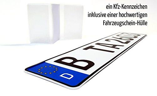 TradeArea 1 Kfz Euro-Kennzeichen in der Standard-Größe 520x110 mm passend für alle Deutschen Fahrzeuge und Fahrradträger inklusive Einer hochwertigen transparenten Fahrzeugschein-Hülle