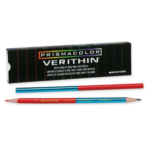 Prismacolor Verithin Colored Pencil, Red/Blue, 12 Count