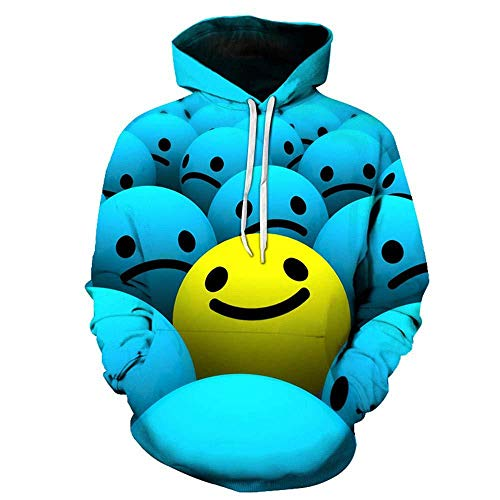 yyqx container Pulls Hoodies d'impression 3D Mignon Streetwear Smiley Bleu avec Poches Avant Big Kangaroo-Color_L