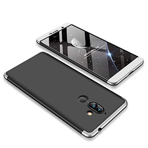 MRSTER Nokia 8.1 Hülle 360 Full Body Schutz Schutzhülle Anti-Kratzer Stoßfest Ultra Dünn Hart PC Bumper Handyhülle Kompatibel mit Nokia 8.1 / Nokia X7 2018. 3 in 1- Silver + Black