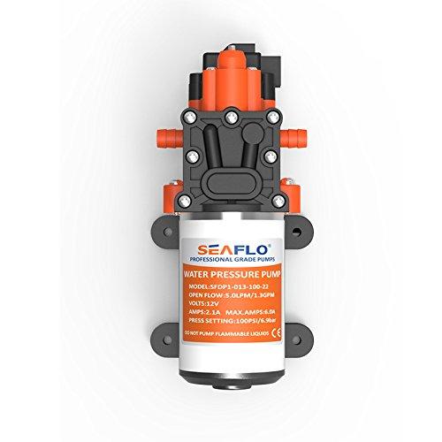 SEAFLO 12V DC 1.3 GPM 100 PSI 22-Series Diaphragm Water Pressure Pump for Marine Boat RV Caravan
