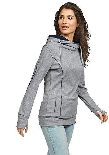 KangaROOS Damen Long Sweatshirt Schalkragen (Grau, 36/38)