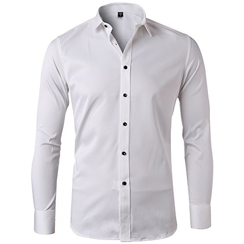 Harrms Camisa Bambú Fibra Hombre, Manga Larga, Slim Fit, Camisa Elástica Casual/Formal Para Hombre, Blanco, XXL