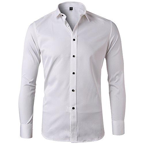 Camisa Bambú Fibra Hombre, Manga Larga, Slim Fit, Camisa Elástica Casual/Formal para Hombre, Blanco, Talla L/ 42