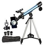 Telescopio para astronomía, telescopios 200X para niños, adultos, principiantes, telescopio refractor astronómico con trípode ajustable, adaptador de teléfono, buscador, brújula