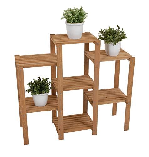 Spetebo Holz Blumenregal 97 x 87,5 cm - 7 Ablagen - Blumentreppe für Innen und Außen - Blumenetagere Pflanzenleiter Pflanzregal Blumenständer