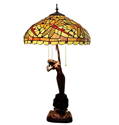 NANXCYR 16 Pulgadas de Estilo de Estilo Tiffany Lamp.Red Dragonfly Lámpara de Cristal manchada Sombras Vintage Lámpara de Escritorio Lámpara de Noche para la Cama de la cabecera Oficina de Dormitorio