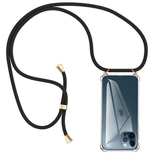 AODOOR Handykette Kompatibel mit iPhone 12 Pro, Kette Handyhülle Umhängen mit Band Silikon Bumper, Handyhüllen mit Kordel Necklace Handyband Kompatibel mit iPhone 12 (6,1)