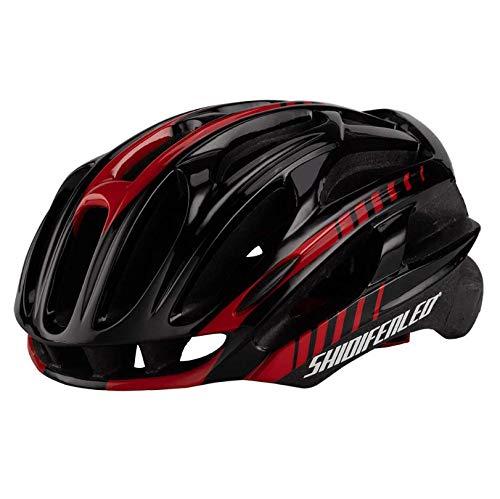 WANGSCANIS - Casco de bicicleta para adulto, ligero flujo de aire, para ciclismo de carretera y montaña (negro y rojo, talla única)