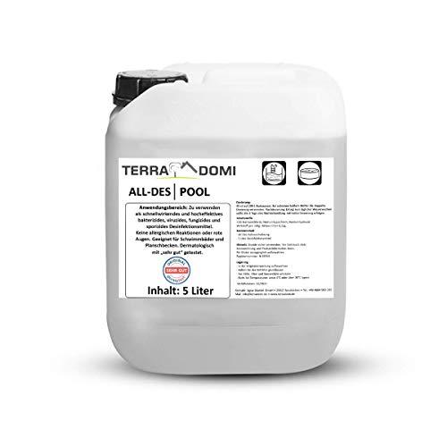 Terra Domi All-des Pool, 5 L, flüssig Chlor Desinfektionsmittel für Planschbecken, Pool & Schwimmbad, Poolpflege mit wenig Chlor, flüssige Desinfektion für Badewasser