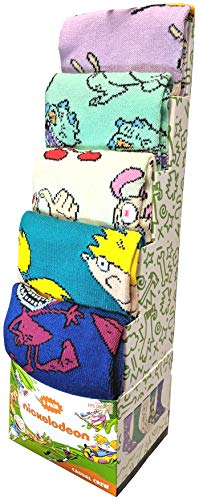 Bioworld Hey Arnold, Ren and Stimpy, Rugrats, Rockos Modern Life and Aaahh! real monsters 5-Pack Mens Casual Crew Socks, Multi, 8-12
