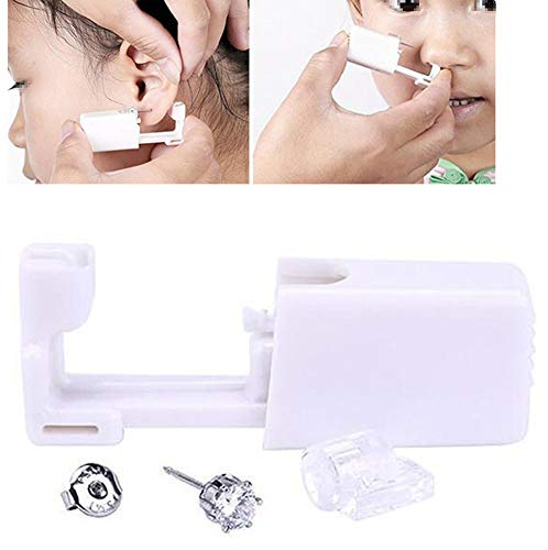 Juego de 2 piercings desechables de color blanco para oreja, oreja, ombligo, labios, nariz, cuerpo, piercing, pistola de tatuaje, herramienta con pendientes