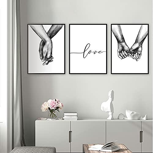 quadri moderni soggiorno love Set di Stampe da Parete