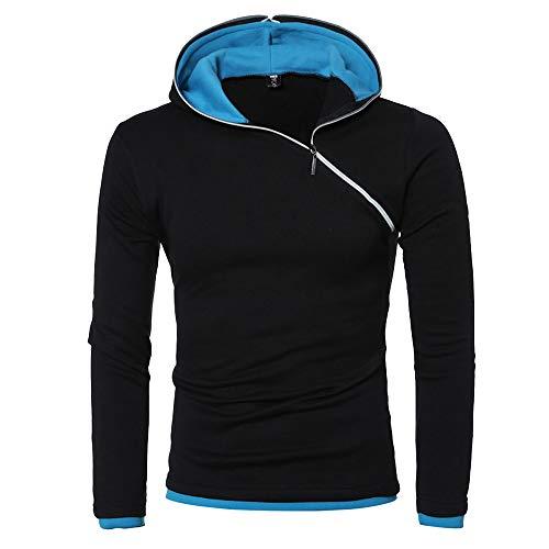 Xmiral Kapuzen-Pullover Herren Einfarbig Lose Kapuzensweatshirt Hoodies (M, X Schwarz-Blau)