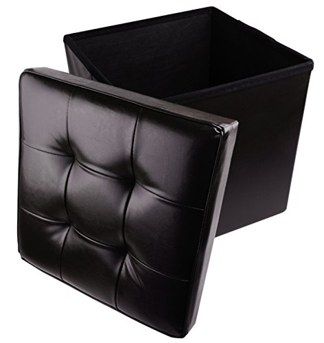 Otomana plegable de piel sintética con asiento acolchado, 38 x 38 cm, color negro