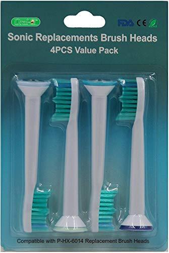 Vervangende tandenborstelkoppen voor Philips Sonicare Sensitive elektrische tandenborstel, 12 stuks (3-delige verpakking), (hx-6014) compatibel met de volgende modellen: Philips DiamondClean/FlexCare/FlexCare.