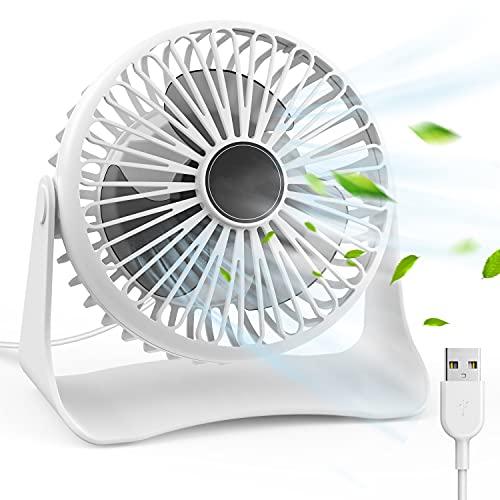 Ventilatore USB Ventilatore da Tavolo Mini Fan Ventola Scrivania Ventola Portatile e Silenzioso Rotazione 360° Mini USB Ventilatore Regolabile 3 Velocità per Casa, Ufficio, Scrivanie, Viaggio(Bianco)
