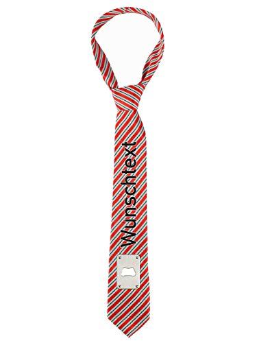 Herz & Heim® Krawatte zum Männertag mit Ihrem Namen bedruckt und praktischen Flaschenöffner