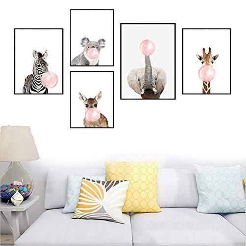 Giraffe Zebra Tier Blase Kaugummi Poster und Drucke Wandkunst Leinwand Malerei Kinder Schlafzimmer Baby Zimmer Dekor Bild