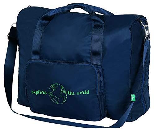 moses. Fernweh Faltbare Reisetasche | Praktischer Weekender für unterwegs | Mit verstellbarem Schulterriemen und Haltegurt für den Koffer