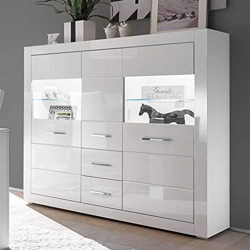 Pharao24 Wohnzimmer Highboard in Hochglanz Weiß und Glas 150 cm breit LED Beleuchtung Energieeffizienzklasse LED