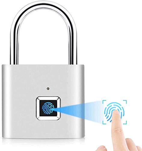 Bloqueo inteligente de huellas dactilares Carga USB,Cerradura Electronica Sin Llave IP65 Prueba de Agua , utilizado para casilleros, maletas, mochilas, etc. Admite 10 juegos de huellas dactilares