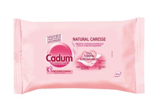 Cadum - Soin Intime Natural Caresse Lingettes Hypoallergéniques Testées Gynécologiquement x20