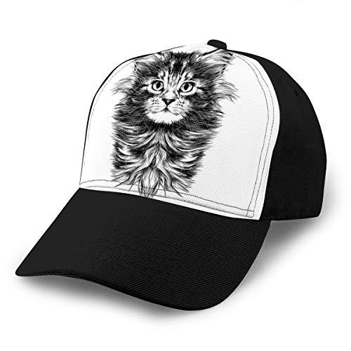 hyg03j4 Gorra de béisbol clásica de algodón para Hombre, Gorra de Golf Deportiva Ajustable, Kit de Dibujo de Cara de Gato