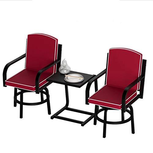 Outdoor Furniture Set da 3 Pezzi di sgabelli da Bar per Esterni e Set di mobili da terrazza, Dotato di 2 sedie girevoli e Un Tavolo di Metallo. Taverna a 3 Pezzi Resistente alle intemperie