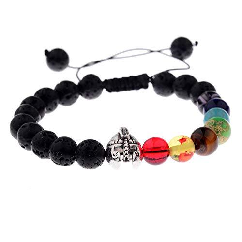 ZWXDMY 7 Pulsera Chakra Casco De Gladiador Cuerda Trenzada De Curación Reiki Ansiedad Socorro Gema Negra Amuleto Yoga Equilibrio Pulseras Perlas Naturales De Energía Aromaterapia Aceite Esenci