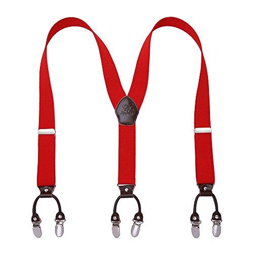 Heavy Duty Men Braces KANGDAI 6 Buckles Y Zurück 10 Farben Durable Elastic Verstellbare Hosenträger Starke Metall Clips (Rot)