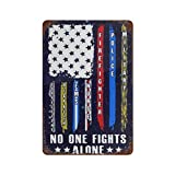 NEWCOCO Metal Aluminum Sign Wall Art No One Fights Alone USA Flag Thin Line Military Police Nurse Decor for Living Room Vintage Art Coffee Bar Signs Home Decor Gifts Decoration -12x8inch