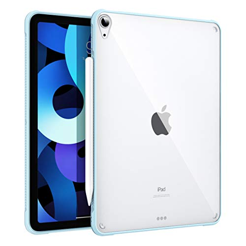 """MoKo Case Fit iPad Air 4 - New iPad Air 4th Generation Case 2020 [Support Touch ID and Apple Pencil 2 Charging], Hard PC Clear Back Cover with TPU Air-Pillow Edge Bumper for iPad 10.9"""", Sky Blue"""