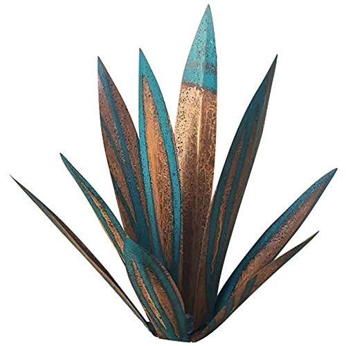 Dacitiery Tequila Rustic Sculpture, Metal Artificial Agave Plant Including 9 Pieces Leafs and Installation Accessories, Garden Decorations Ornament, Yard Stakes Home Decor(Blue)