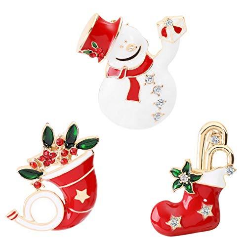 ACMEDE Lot de 3 Broches de Noël, Mignon Noël Cadeau Bijoux Décoration de Noël pour Femme et Fille