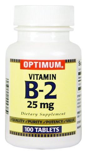 Optimum Vitamin B-2 Tablets, 25 Mg, 100 Count (Pack of 2)
