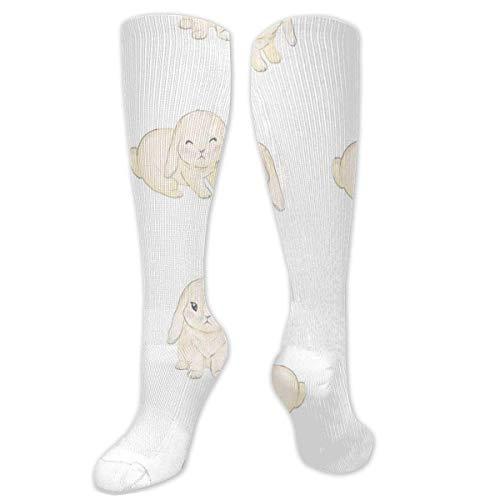 Cute Cartoon Bunny Baby Unisex Polyester + Spandex Calcetines de moda, Calcetines largos de tubo para botas de cosplay Calcetines altos de pierna ee