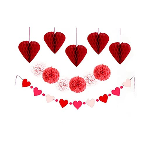 12pcs Envoltura Pom Poms kit de baño de novia de la boda décoración Wrapper Wrapper Flores y linternas de nido de abeja para la decoración de bolas de novia de la boda Inicio de baño
