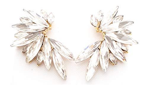 Pendientes cristales coloridos mujer alta bisutería fiesta, chapado oro blanco brillo