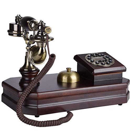 Teléfono Retro/botón de teléfono Fijo Antiguo de Cuerpo de Madera Maciza/teléfono Antiguo clásico, Color Caoba, decoración de Escritorio para el hogar