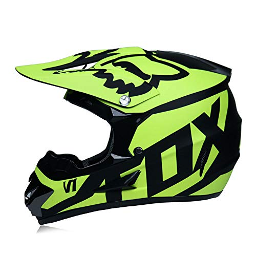 Casco De Motocross Casco De Motocross para Niños Casco De Motocross para Adultos con Gafas Guantes Máscara Casco De Motocicleta Fox Youth,Amarillo,S