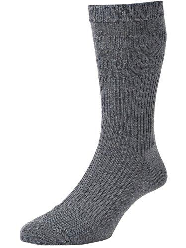 HJ Hall Softop HJ190 extra breite, weiche Socken aus Wolle / Größen 39–44& 44–46 Gr. Medium, Grau (Mid Grey)