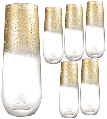 Kitchen Lux Longdrinkgläser, 284 ml, 6 Stück, klares Glas mit Goldrand, für Wein, Shots, Cocktails, Champagner, Allzweckbecher, elegantes Design, spülmaschinengeeignet (goldfarbener Top)