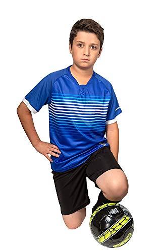 Premium Soccer Uniforms for Kids, Sizes 6-12, Boys/Girls Sports Activewear Color Shirts - Black Shorts (Blue, Large)