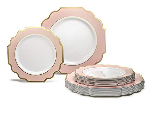 OCCASIONS 50 Plates Pack (25 Guests)-Heavyweight Wedding Party Disposable Plastic Plate Set -25 x 10.5'' Dinner + 25 x 7.5'' Salad/Dessert plates (White & Silver Rim)