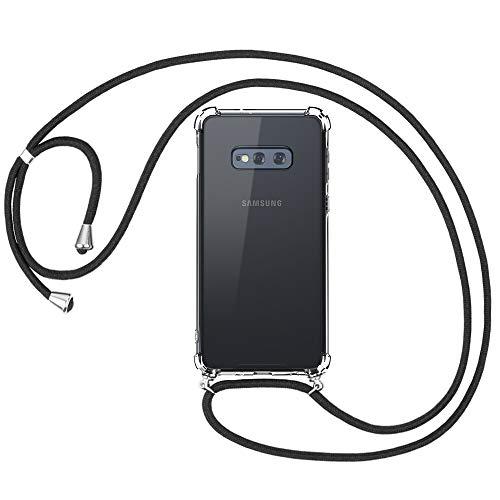 omitium Handykette für Samsung Galaxy S10e, Transparent Hülle mit Band Samsung Galaxy S10e Handyband Halskette Schutzhülle mit Kordel zum Umhängen Cover TPU Bumper Samsung S10e Handyhülle Case