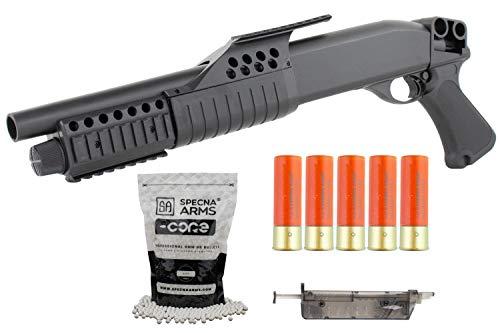 Softair Shotgun Pumpgun ASG Franchi mit 5X Patronenhülsen inklusive 2000 Stück hochwertige Softairkugeln Kal. 6mm BB