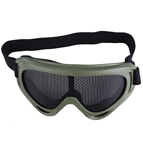 Taktische Airsoft Metall Mesh Radfahren Brille Stoßfestigkeit Stahl Linsen Sonnenbrille Paintball Brillen Augenschutz für Männer Frauen Radfahren Wandern(Armeefarbe)
