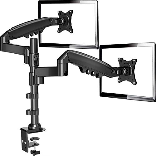"""ErGear 17""""-32"""" Dual Monitor Desk Mount Stand Kit, Full Motion Gas Spring Arms with Clamp..."""